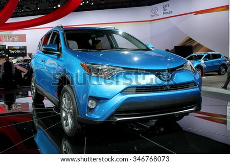 Los-Angeles, USA - Nov 18, 2015: Toyota RAV 4 Hybrid at the LA Auto Show on Nov 18, 2015 in LA, California - stock photo