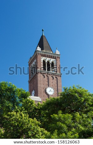 LOS ANGELES,USA - October 1: Mudd Hall of Philosophy Clock Tower on the campus of the University of Southern California.  USC is a university in Los Angeles, California. October 1, 2013. - stock photo
