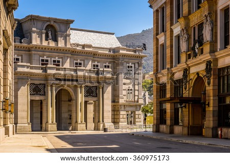LOS ANGELES, USA - SEP 27, 2015: Hill valley, Back to the Future set at the Hollywood Universal Studios. Back to the Future is a 1985  science-fiction adventure film directed by Robert Zemeckis - stock photo