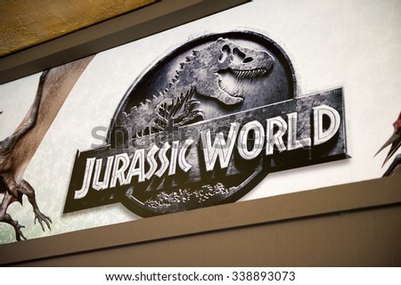LOS ANGELES, USA - SEP 27, 2015: Jurassic World logo in Jurassic Park area in the Universal Studios Hollywood Park. Jurassic Park is a 1993 American adventure film  by Steven Spielberg - stock photo