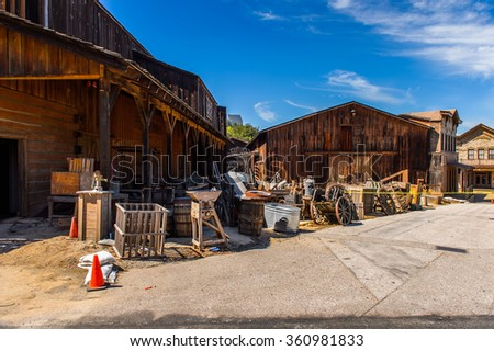 LOS ANGELES, USA - SEP 27, 2015: Old West houses for westerns at the Hollywood Universal Studios. Universal Pictures company was created on June 10, 1912 - stock photo