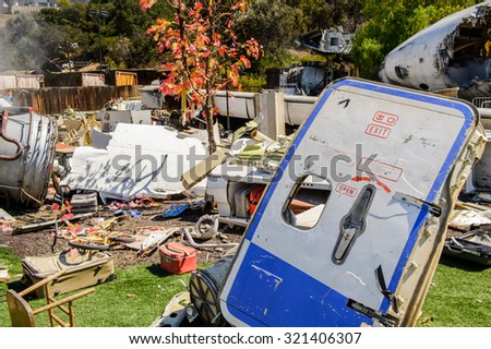 "LOS ANGELES, USA - SEP 27, 2015: Plane crash set for the ""War of the Worlds"" movie with Tom Cruise in Universal Studios, Hollywood. It is one of most famous Hollywood film studios - stock photo"