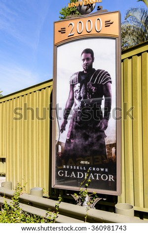 LOS ANGELES, USA - SEP 27, 2015: Russell Crowe Gladiator film poster at the Hollywood Universal Studios. Universal Pictures company was created on June 10, 1912 - stock photo