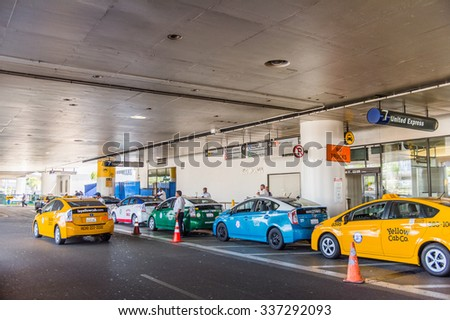 LOS ANGELES, USA - SEP 26, 2015: Taxi cab line at the Los Angeles International Airport (LAX) , the primary airport serving the Greater Los Angeles Area, - stock photo