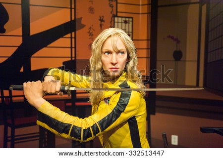 LOS ANGELES, USA - SEP 28, 2015: Uma Thurman as the Bride from Kill Bill in  Madame Tussauds Hollywood wax museum. Marie Tussaud was born as Marie Grosholtz in 1761 - stock photo