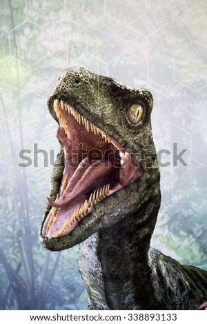 LOS ANGELES, USA - SEP 27, 2015: Velociraptor in Jurassic Park area in the Universal Studios Hollywood Park. Jurassic Park is a 1993 American adventure film  by Steven Spielberg - stock photo