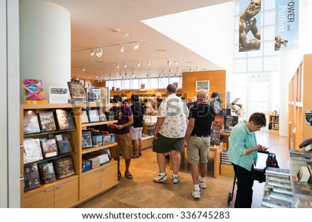 LOS ANGELES, USA - SEP 26, 2015: Visitor center of the J. Paul Getty Museum (Getty Museum), an art museum in California established in 1974 - stock photo