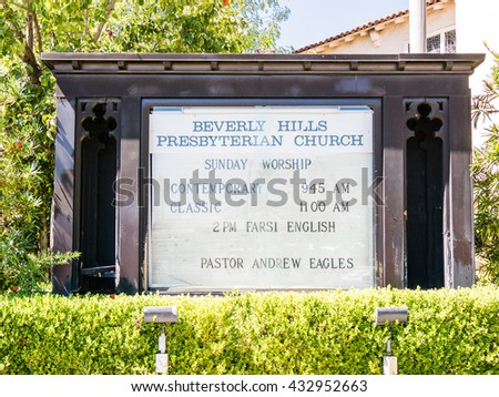 LOS ANGELES, USA - SEPTEMBER 20: Beverly Hills on September 20, 2015 in Los Angeles, United States. Iit is home to many actors and celebrities.  - stock photo