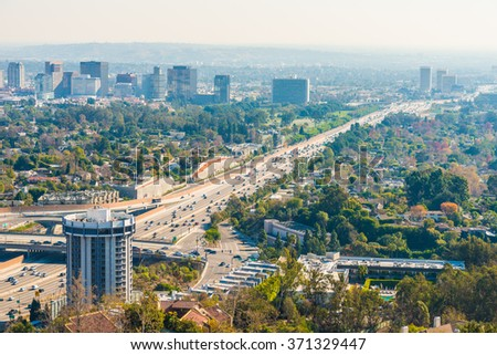 Los Angeles with busy freeway - stock photo