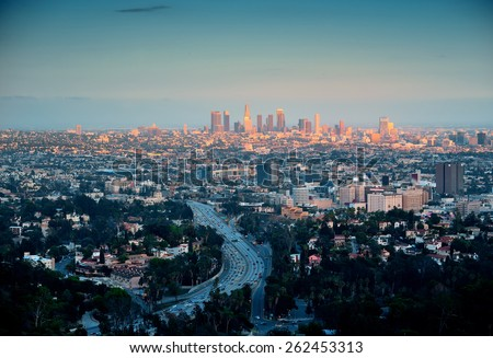 Los Angeles with urban buildings - stock photo