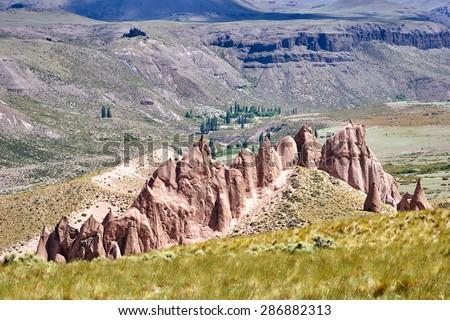 Los Bolillos, Varvarco, Domuyo Provincial Park, Neuquen, Argentina             - stock photo