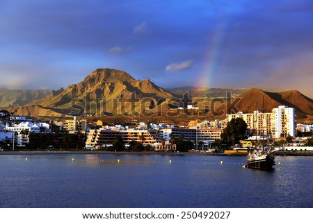Los Cristianos resort in Tenerife, Canary Islands, Spain - stock photo