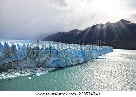 Los Glaciares National Park in Patagonia. Colossal Perito Moreno glacier in Lake Argentino. Sunny summer day - stock photo