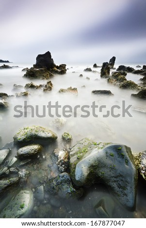 Los Hervideros beach in Lanzarote in a cloudy day, Canary Island - stock photo