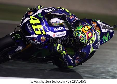 LOSAIL - QATAR, MARCH 17: Italian Yamaha rider Valentino Rossi at 2016 Commercial Bank of Qatar MotoGP at Losail circuit on March 17, 2016 - stock photo