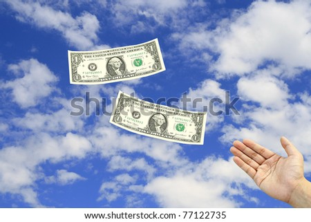 Lose dollar from hand with sky - stock photo