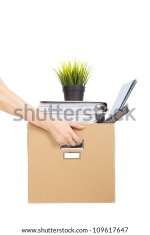 lose job concept.hand holding the box of laid off employee - stock photo
