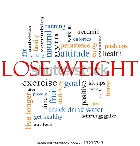 Lose Weight Word Cloud Concept with great terms such as diet, exercise, protein, goal and more. - stock photo
