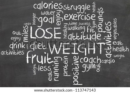 lose weight word cloud on chalbord - stock photo