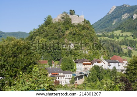 LOSENSTEIN , UPPER AUSTRIA - JULY 03.The small village Losenstein in the Enns valley in Upper Austria on July 03, 2014. The Castle is the biggest and oldest in Upper Austria, built in the 12th Century - stock photo