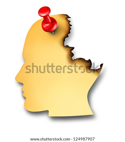 Losing memory and dementia disease as an alzheimer's diagnosis of the human brain for mental health care as a yellow paper office note shaped as a face in profile burning away on a white background. - stock photo