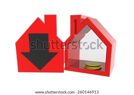 Loss , fewer transactions or declining real estate values  - stock photo
