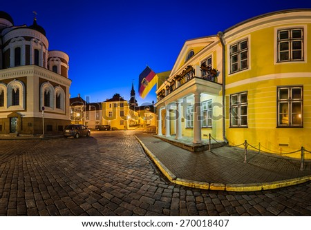 Lossi Plats Square and Alexander Nevski Cathedral in the Evening, Tallinn, Estonia - stock photo