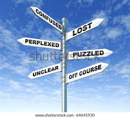 lost and confused sign post directions sky pole uncertainty - stock photo