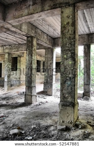Lost city. Abandoned Psychiatric Hospital Construction - stock photo
