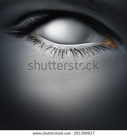 Lost concept and losing memory caused by dementia as alzheimers disease with a blind human eye as a blank white eyeball as a mental health symbol for a psychological crisis of personality. - stock photo
