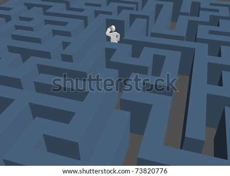 lost in maze - stock photo