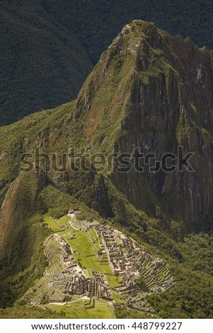 Lost Incan City of Machu Picchu and Wayna Picchu near Cusco in Peru. Peruvian Historical Sanctuary in 1981 and a UNESCO World Heritage Site in 1983. One of the New Seven Wonders of the World - stock photo