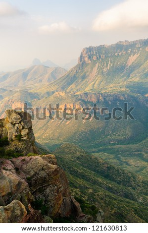 Lost Mine trail overlook of the Chisos Mountains at sunrise in Big Bend National Park - stock photo