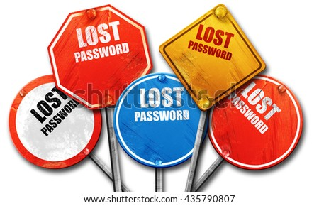 lost password, 3D rendering, rough street sign collection - stock photo
