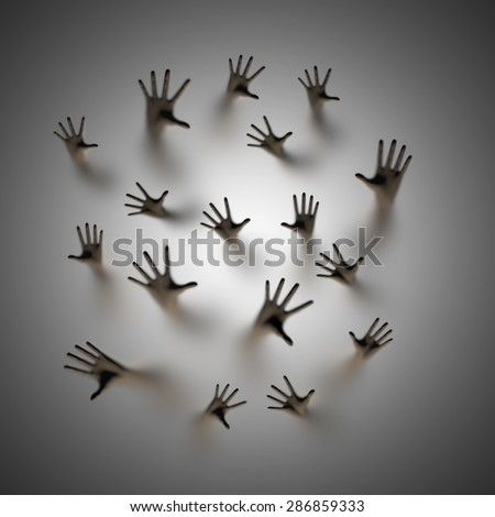 Lost souls 3D render of ghostly hands reaching up behind frosted glass - stock photo