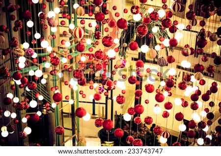lot of Christmas lights in the shopping mall background / Christmas lights in the shopping mall background/ Christmas lights in the shopping mall background (decoration, light, xmas) - stock photo