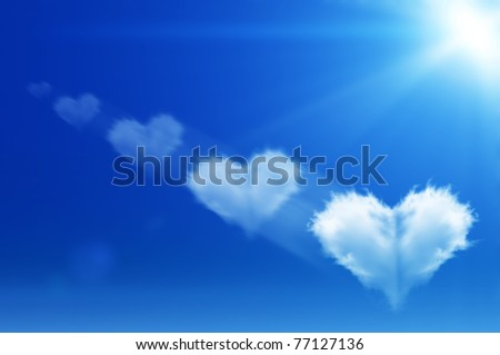 lot of clouds of heart on the sky - stock photo