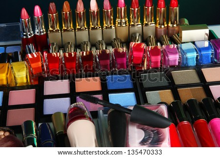 Lot of different cosmetics on close-up - stock photo