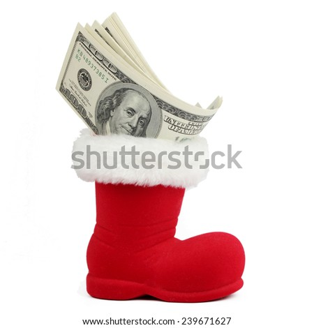 Lot of dollars in a Christmas sock  - stock photo