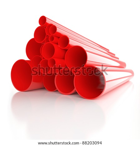 Lot of folded red plastic pipes - stock photo