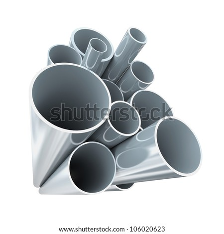 Lot of folded steel pipes - stock photo