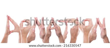 lot of hands form the word donation - stock photo