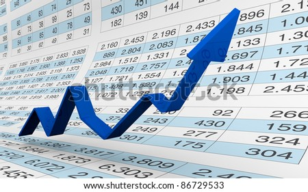 lot of numbers in a spreadsheet and charts over it (3d render) - stock photo