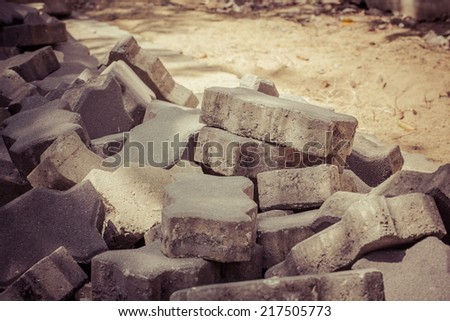Lot of old gray bricks - stock photo