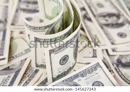 lot of one hundred dollar bills - stock photo