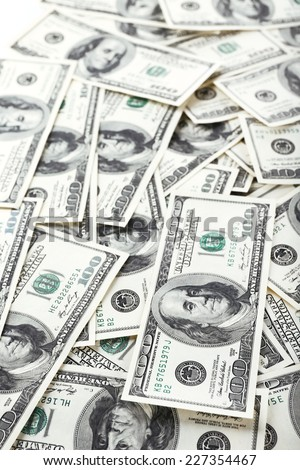 Lot of one hundred dollar bills close-up background - stock photo