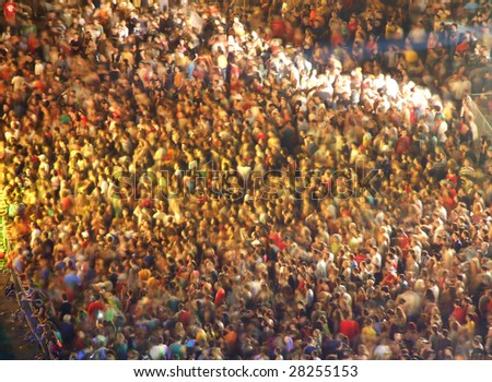 Lot people on concert with light show - stock photo