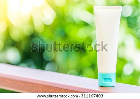 Lotion bottle cream - stock photo