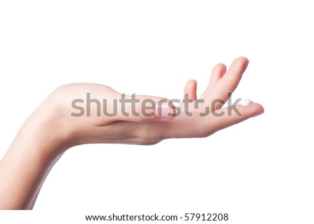 Lotion on the women hand. Isolated on white background - stock photo
