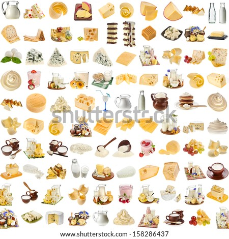 Lots collection set of dairy milk produce, cheese,curd, cottage isolated on white background - stock photo